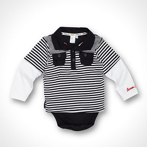 J by Jasper Conran - Designer Babies navy striped two in one polo shirt and bodysuit
