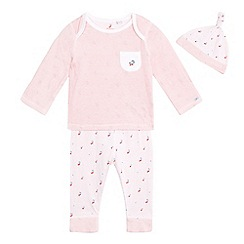 J by Jasper Conran - Baby girls' pink striped cherry print long sleeved pyjamas and hat set