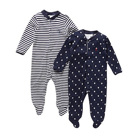 J by Jasper Conran - Designer Babies pack of two navy sleep suits