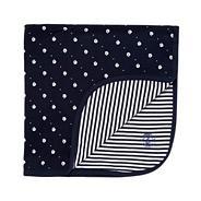 Designer navy boat print baby blanket