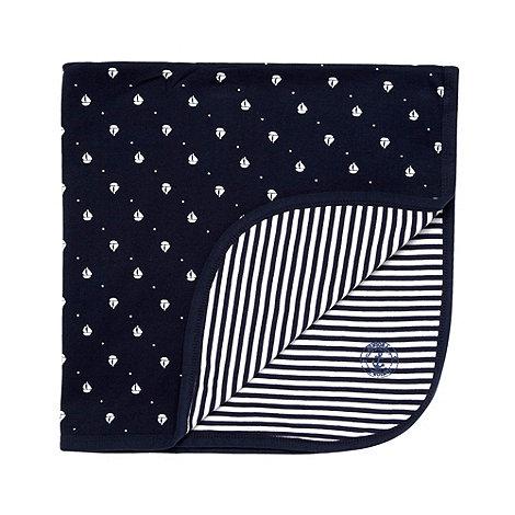 J by Jasper Conran - Designer navy boat print baby blanket