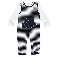 Designer Babies navy boat dungaree set