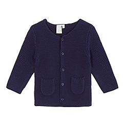 J by Jasper Conran - Baby girls' navy textured cardigan
