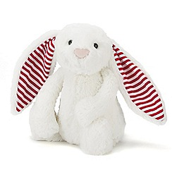 Jelly Kitten - White 'Bashful' candy striped medium bunny