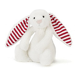 Jelly Cat - White 'Bashful' candy striped small bunny