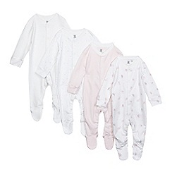 bluezoo - Pack of four baby girls' white bunny, heart and striped print sleepsuits