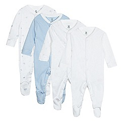 bluezoo - Pack of four baby boys' white car and striped print sleepsuits
