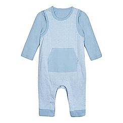 bluezoo - Baby boys' pale blue striped print dungarees and bodysuit set