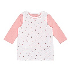 J by Jasper Conran - Baby girls' pink pinny and top set