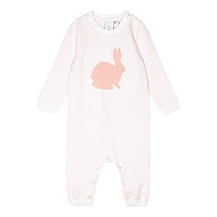 J by Jasper Conran - Babies pale pink bunny knitted romper suit