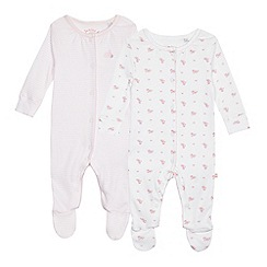 J by Jasper Conran - Pack of two baby girls' pink and white floral sleepsuits