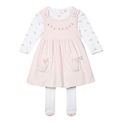 J by Jasper Conran - Baby girls' velour pinafore, floral bodysuit and tights set