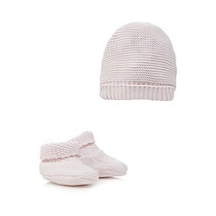 J by Jasper Conran - Baby girls' pink knitted hat and booties set