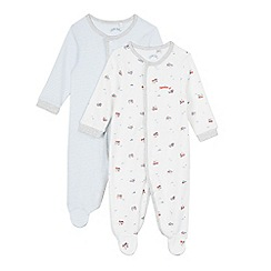 J by Jasper Conran - Pack of two babies pale blue sleepsuits