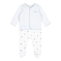 J by Jasper Conran - Babies pale blue quilted train dungarees and jacket set