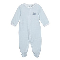 J by Jasper Conran - Babies pale blue striped velour sleepsuit