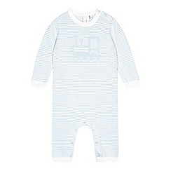 J by Jasper Conran - Babies light blue train knitted romper suit