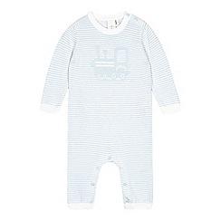 J by Jasper Conran - Babies light blue train knitted romper suit