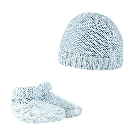 J by Jasper Conran - Baby boys+ blue knitted cap and booties set