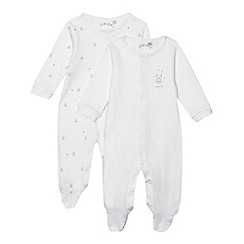 J by Jasper Conran - Designer pack of two babies white bear and star sleepsuits