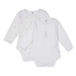 J by Jasper Conran - Pack of two designer babies white teddy bear printed bodysuits