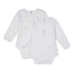 J by Jasper Conran - Pack of two designer babies white teddy bear printed bodysuits