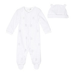 J by Jasper Conran - Babies white velour teddy bears sleepsuit and hat set