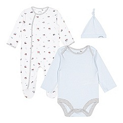 J by Jasper Conran - Babies light blue train sleepsuit, body suit and hat gift box