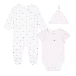 J by Jasper Conran - Babies pink floral striped sleepsuit, body suit and hat gift box