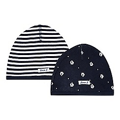 J by Jasper Conran - Pack of two designer babies navy nautical caps
