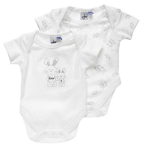 J by Jasper Conran - Designer Babies pack of two white bunny bodysuits