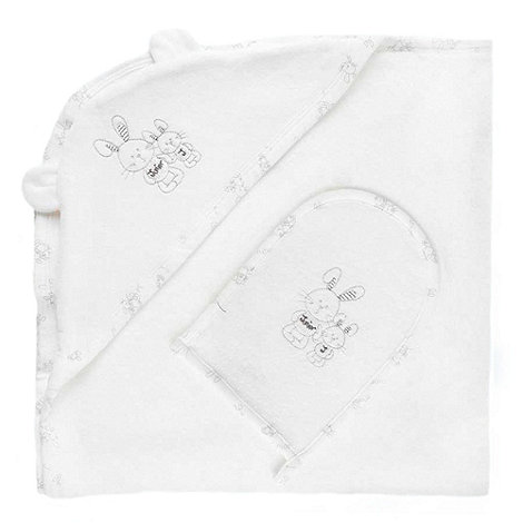 J by Jasper Conran - Designer Babies white bunny towel and mitt set