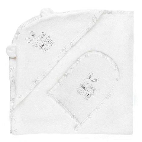J by Jasper Conran - Designer Babies white bunny towel and mitt set