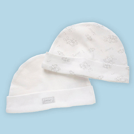 J by Jasper Conran - Designer Babies pack of two white bunny hats