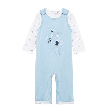 J by Jasper Conran - Designer Babies pale blue dungaree sleepsuit and bodysuit