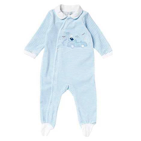 J by Jasper Conran - Designer Babies pale blue striped velour baby grow
