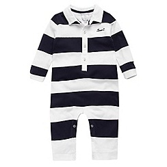 J by Jasper Conran - Designer Babies navy block striped romper suit