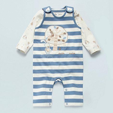 RJR.John Rocha - Designer Babies blue striped dungarees and cream owl body suit set