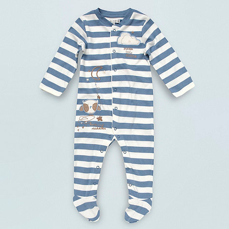 RJR.John Rocha - Designer Babies blue striped and embroidered baby grow