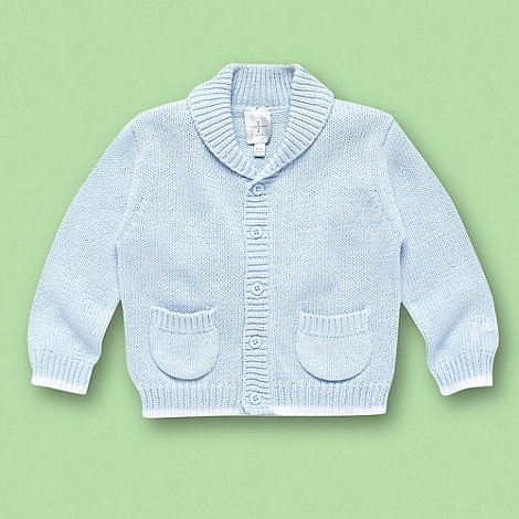 J by Jasper Conran - Designer Babies pale blue knitted shawl neck cardigan