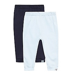 J by Jasper Conran - Designer Babies pack of two navy plain and striped jersey bottoms