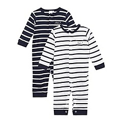 J by Jasper Conran - Designer Babies set of two navy striped baby grows