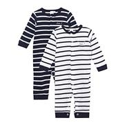Designer Babies set of two navy striped baby grows