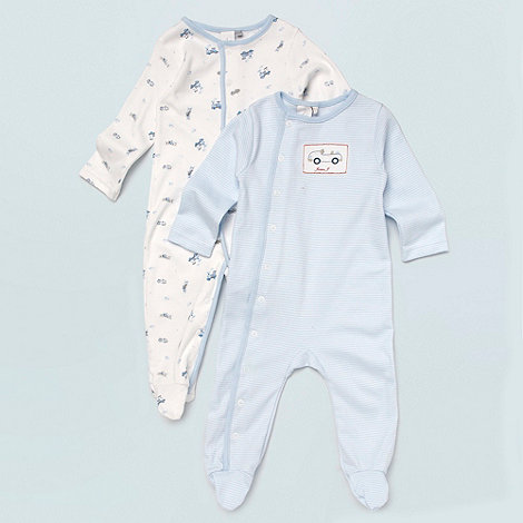 J by Jasper Conran - Designer Babies pack of two blue car printed baby grows