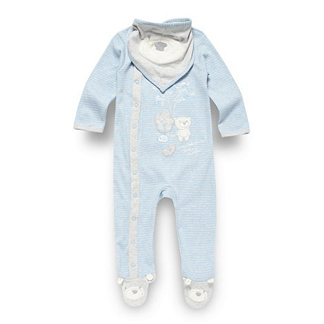 RJR.John Rocha - Designer babies blue striped sleepsuit and bib set