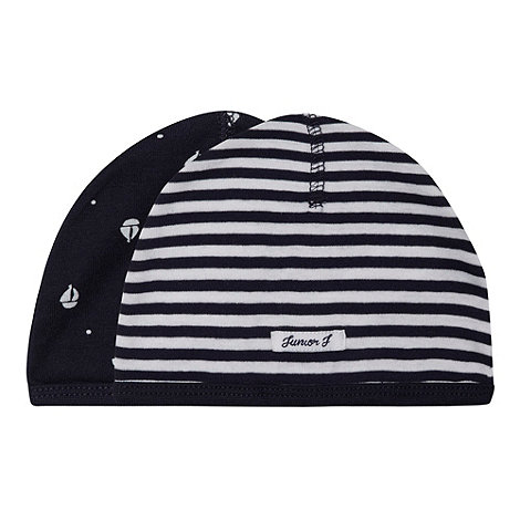J by Jasper Conran - Designer babies pack of two navy striped and boat printed hats