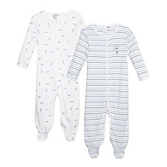 J by Jasper Conran - Designer pack of two babies pale blue sleepsuits