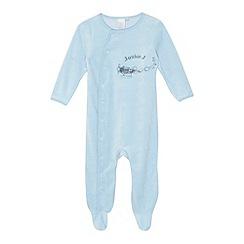 J by Jasper Conran - Designer babies pale blue aeroplane velour sleepsuit
