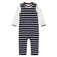 Designer babies navy striped dungarees set