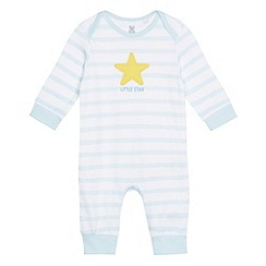 bluezoo - Baby boys' light blue striped star applique sleepsuit
